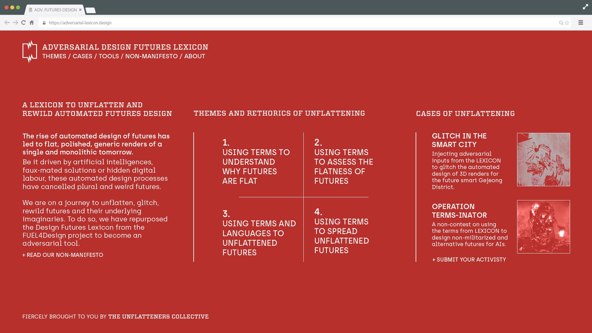 The Adversarial Design Futures Lexicon webpage